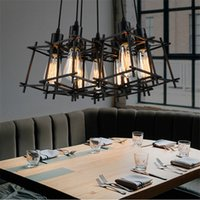 Wholesale Vintage Hanging Light Fixtures - American Loft Vintage pendant light Personality Wrought Iron lights Edison nordic lamp industrial cage lamp retro hanging lighting fixtures