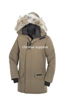 Wholesale Goose Down Hats - Canadians Langford Parka Winter Jacket Men Tan Mid-grey Spirit Thick Warm Down Coats Mens Long Down Parka Jackets Size S-3XL