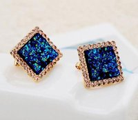 Stud square blue diamond earrings - high end Czech ShanZuan blue square earrings fashion Han edition earrings Factory price