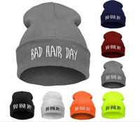 ingrosso giorno cappelli-Cappello Hip-Hop da uomo di nuovo arrivo con lettera BAD Hair DAY Beanie Knitted Cap Skull Cap
