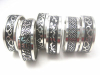 Wholesale Wholesale Ring Etching - wholesale 30pcs 8mm black etching stainless steel polished rings inside polished