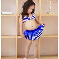 Wholesale Toddler Two Piece Bikini - 2016 Kids Bikini Girls Two pieces Swimwear Children Swimsuit cute striped Swimming suit Baby Bathing suit Toddler Summer Clothes Gifts hot