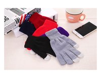 Wholesale Wholesale Wool Gloves For Women - DHL Christmas Touch Screen Gloves Winter Outdoor Cycling Gloves For Men And Women Knit Wool Five Fingers Gloves