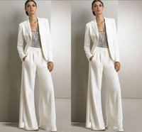 Wholesale Tuxedo Wearing Women - 2018 Modest Bling Sequins White Mother Of The Bride Pants Suits Formal Chiffon Tuxedos Women Party Wear New Fashion Custom Made