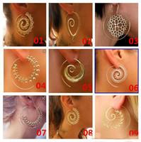 encantos de plata india al por mayor-9 Estilo Mujeres Personalidad Pendientes Grandes de La Vendimia Tribal Indian Love The Spiral Hoop Pendiente de Plata de Oro Con Encanto Fake Ear Joyería