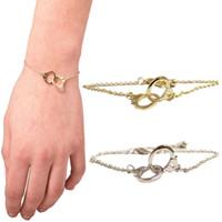 Wholesale Handcuff Leather Bracelet - Wholesale- Hot Fashion Hand Chain Silver Golden Handcuffs Bracelet Twin Knots Buckle Chain