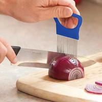 легкий нож для резки фруктов оптовых-Лук иглы из нержавеющей стали резак вилки кухонные инструменты фрукты вставлены вырезать овощи держатель вилка Slicer легко чистить WX-C32