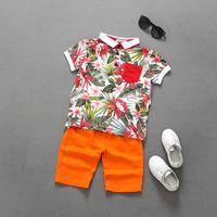 Wholesale baby boy shorts plaid pants - Boys Clothes Sets Summer Baby Boy Beach Style Clothing Floral Top+Short Pants 2pcs Outfits Children Suits Children Clothes