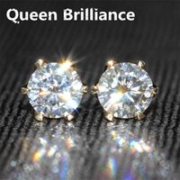 boucles d'oreilles en diamant en or jaune 14k achat en gros de-Authentique 14K 585 Or jaune 1 carat ctw F Test de couleur Positif Lab Grown Moissanite Diamond Fashion Studs Earring For Women 17903