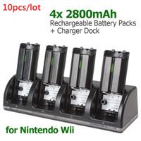 estação de bateria recarregável venda por atacado-10 pçs / lote Universal 4x2800mAh Bateria Recarregável + Carregador Dock Station para WII Remoto EGS_810