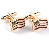 Wholesale Flag Link - Flying American USA National Flag Cufflinks Men's Office Fashion Cuff links Gold High Quality Cuff Buttons zj-0903975-6