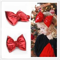 Wholesale red baby christmas headband - Baby Girls Christmas Red Bow Headbands Children Kids Xmas Bowknot Leather Hairbands Elastic Glitter Powder Band Princess Headdress KHA523