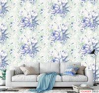Wholesale Red Floral Wall Paper - Red blue Floral Wallpaper Vintage Vinyl Wallpaper Rolls for Home Decor Living Room PVC wallpaper waterproof wall mural
