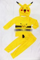 Wholesale Christmas Costumes Outfit Pants - Halloween children Poke outfits cartoon Costumes baby long-sleeved tops+pants+hat 3pcs set pikachu cosplay suit C1452