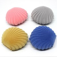 Wholesale Display Shells - Creative Shell Shaped Flannelette Earring Packaging Jewelry Storage Box Gift Pendant Jewellery Stand Display Box free shipping