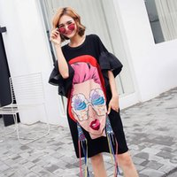Wholesale Girls Loose Tops - TREND-Setter 2017 Summer Fashion Punk Cartoon Girl T shirt Women Ice cream Print Long Tshirt Flare Sleeve Loose Causal Tops free shipping