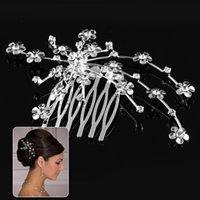 Wholesale 9 x cm Little Flower Wedding Party Prom Crystal Hair comb Clip Pin Rhinestone hair clip styling tools