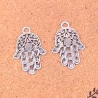 38pcs Antique Silver Plated Hamsa Hand Charms Pendants pour bijoux européens Jewelry Making DIY Handmade 42 * 28mm