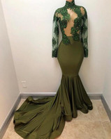 Wholesale Dress See Trough - Sexy Green See Trough Long Sleeves Prom Party Dresses High Neck Lace Applqiued Evening Party Dresses