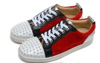 Wholesale Junior Mahogany - 2017 wholesale Multicolor splicing Top quality Red bottom sneakers for men Junior key-2 Luxury brand spikes sneaker shoes, Low Top lace up