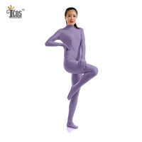 Wholesale Full Body Nylons - Wholesale-The Crazy Ones Zentai Light Purple Suit Women Dancewear Turtleneck Unitard Bodysuit Headless Footed Second Skin Full Body Tights