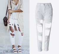 Wholesale Loose Khaki Pants For Women - Ag 18 Years Ripped big hole tassels high waisted loose jeans Demain trousers pants plus size for women Boyfriend Style 100 cotton Jeans