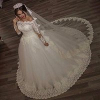 Wholesale Scalloped Ivory Veil - Luxury Vintage Long Sleeves off Shoulder Wedding Dresses scallop neck Princess Lace Alliques Bridal Bride Gowns with veil robe de mariage