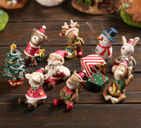 Wholesale Miniature Christmas - Christmas Resin Crafts Nature Miniature Micro Landscape Miniatures For Decoration Ornaments Kawaii Cabochons 10 Pcs Set