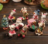 ingrosso ornamenti in miniatura-Natale Resina Artigianato Natura Miniature Micro Paesaggio Miniature Per Ornamenti Decorazione Kawaii Cabochon 10 Pz / set