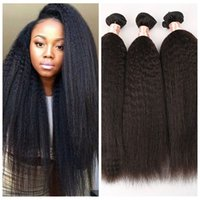 Wholesale light yaki hair weave bundle resale online - Top Grade unprocessed Brazilian Kinky Straight hair Weave light coarse yaki human hair bundle italian yaki straight hair G EASY