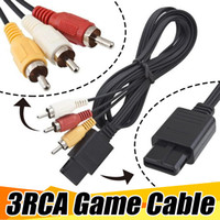 Wholesale Nintendo Gamecube Video Games - 3RCA 1.8m 6FT AV TV RCA Video Cord Cable For Game Cube For SNES GameCube For Nintendo For N64 64 Game Cable