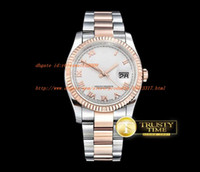 Wholesale Roman Factory - AAA Factory DJ 36mm Two Tone Rose Gold Oyst Flt RG   SS White Thick Lume Thick Lume sapphire Roman Dial bezel Automatic men's watch gift