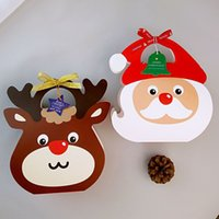 Wholesale Xmas Gift Paper - DIY Elk Santa Claus Christmas apple box cookie chocolate candy biscuit paper box party favor Xmas decoration gift box