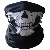 Wholesale used half - Wholesale- Yimistar #4066D Bicycle Ski Skull Half Face Mask Ghost Black and White Print Scarf Multi Use Neck Warmer