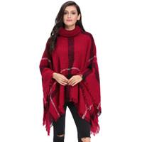 Wholesale Warm Elegant Sweaters - Turtleneck Tassel Cape Sweater Poncho Pullover Women Elegant 2016 Warm Clothes Batwing Fringed Stitching Irregular Shawl Autumn Pullover
