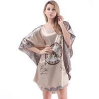 Wholesale Sleepwear Long Sleeve Chiffon - Wholesale-Chiffon Silk Blend Nightgown Women Plus Size Sleepshirt Feminino Sexy Sleepwear Summer Dress Satin Long Sleep Top Bat-Like Skirt