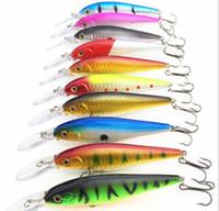 minnow balıkçılık cazibesi 11cm toptan satış-Süper Kalite 5 Renkler 11 cm 10.5g Sert Yem Minnow Balıkçılık lures Bas Taze Tuzlu su 4 # kanca Dikenli kanca HJIA178
