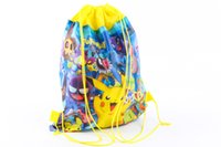 Wholesale Drawstring Bags For Children - women's daypacks printing pikachu backpack for travel mochila feminina harajuku drawstring bag backpacks poke children kids gift bags ZJ-57