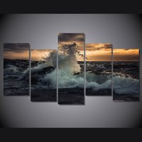 Wholesale wave paintings resale online - 5 Set Framed Printed The waves of the sea more volna noch Print room decor print poster picture canvas ny