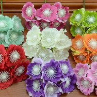 Wholesale Real Touch Flowers Poppy - 6pcs lot 4cm Real Touch Silk + tamen Artificial Poppy Bouquet  Wedding Favor Box Rose Flowers For DIY Scrapbooking Flower