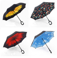 Wholesale Design Inside - New Design Inverted Umbrellas Double Layer With C Handle Inside Out Reverse Umbrella Windproof Colorful Rainy Sunny Beach Umbrella YH001-25