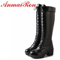 Wholesale Red Gothic Boots - Wholesale- ANMAIRON Boots New Gothic Ppunk Shoes Cosplay Motorcycle Boots Platform Sexy Lace-Up Winter Med Knee High Boots Free Shipping
