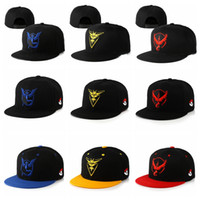 Wholesale Hat Fan Cartoon - 10 Styles Poke Go Baseball Caps Adult Adjustable Snapbacks Hats Cartoon Embroidery Canvas Hip Hop Flat Hat For Men Women Fans