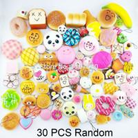 Wholesale Bread Mixes - Wholesale-30PCS Random Squishy Donuts Panda Bread Toast Buns Expression Phone Straps 6+8+16 Mixed
