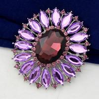 Wholesale Topaz Costume Jewelry - Free postage 2016 fashion alloy acrylic rhinestone brooch bouquet of purple wild costumes, brooch jewelry latest hot