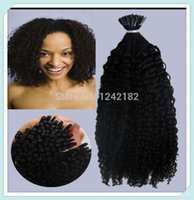 Wholesale I Tip Curly Hair Extensions - Sunny Hair Products Curly Stick I tip Hair Extensions #1Jet Black Pre bonded hair extensions (1g  strand) Fusion Human Hair Extensions