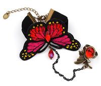 ingrosso braccialetto della farfalla del merletto-Braccialetto in pizzo vintage con anelli regolabili Set Braccialetti in velluto da donna Fashion Butterfly Design Braccialetto in cristallo Gioielli ragazze Braccialetto gotico