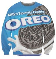 Wholesale Oreo Cookies - Wholesale-Harajuku Women Men tops milks favorite OREO cookie print pullover 3d sweatshirt hoodies sportsuits plus size S-XXL Free shipping