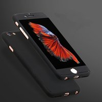Wholesale Red Transparent Film - 360 Degree Full Coverage Coque Case for iPhone 6   6S   7 Plus Hard PC Front Clear Screen Film Protective Cover Cases luxury