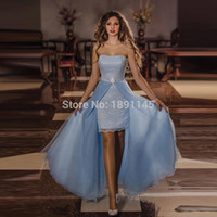 Wholesale Evening Mini Dresses Strapless - Overskirt Prom Dresses 2016 Sexy Lace Runway Sexy Strapless Tulle imported-party Sheath Short For Pageant Women Removable Evening Dress